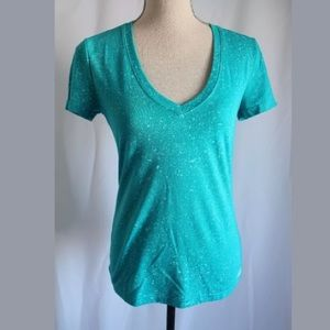 Adidas v neck fleck tee top teal green blue new XS